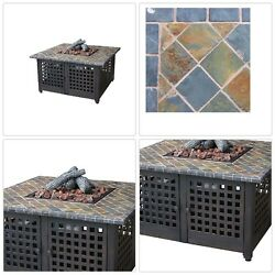 Fire Pit Patio Heater Steel Stand Table Marble Tile Burner Outdoor Portable