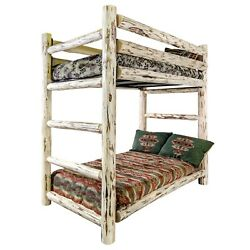 Log Bunk Beds Rustic TWIN OVER TWIN Bunkbed Amish BunkBeds Lodge Cabin Style