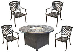 Propane fire pit table set cast aluminum 5 piece dining with Sunbrella cushions.