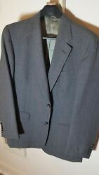 used Cricketeer men's 100% wool suit- gray with fine pin stripe 38s short 3230