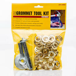 NEW Grommet Tool Kit with Fifty 50 1 2quot; Brass Coated Grommets $15.49
