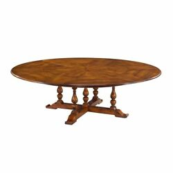 Extra Large Round Jupe Dining Table Solid Walnut Table 82 to 100 inches