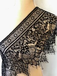 3 Yards Black Floral Embroidered Eyelash Mesh Lace Trim Sewing Crafts 10quot; Wide $12.50