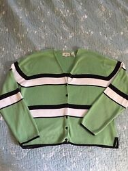 Jeanne Pierre Stein Mart Ladies Large Sweater Cardigan Green With Black amp; White $6.00