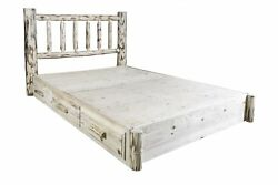 Storage Platform Bed with Drawers Queen Size Amish Made Log Cabin Beds