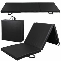 High Density PU Leather Gym Mat Fitness Exercise Tri Fold Tumbling Arts Workout $32.99