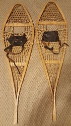 Antique Snowshoes 42quot; Long with Rawhide Webbing amp; Wood Frame BASTIEN BROTHERS $174.99