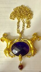 Vintage Handmade Etruscan Style 18k Yellow Gold 20 Ct Amethyst NecklacePendant