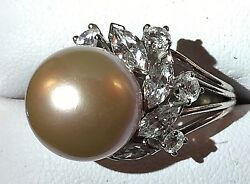 VINTAGE ESTATE 14MM CULTURED GOLDEN SOUTH SEA PEARL DIAMOND SOLITAIRE RING