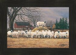 WOOL GATHERING by Bonnie Mohr 16x22 FRAMED WALL ART PICTURE Sheep Lambs Hay Pile $38.95