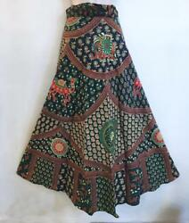 Hippie Bohemian Festival Indian Ethnic Jaipuri Block Print Wrap Skirt A $25.20