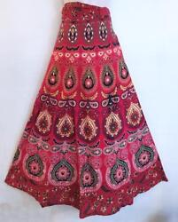 Hippie Bohemian Festival Indian Ethnic Jaipuri Block Print Wrap Skirt C $25.20