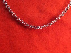 16 INCH SILVER STAINLESS STEEL 4MM ROLO  LINK ROPE CHAIN NECKLACE