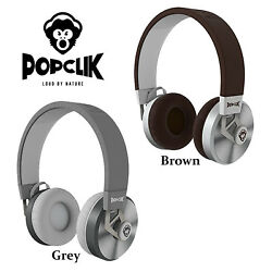 PopClik 2 ONE Headphones Leather Elegance and Soft Spoken Steel Over the Ear $14.99