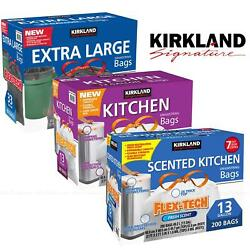 Kirkland Signature FlexTech Drawstring Kitchen Bin 49L Liner 124L XL Trash Bags GBP 50.00
