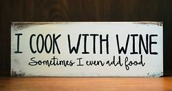 Rustic Kitchen Wood Sign I COOK WITH WINE Country Home Decor Farmhouse FUNNY $15.95