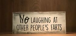 Rustic Wood Sign NO LAUGHING AT FARTS bathroom Decor Funny restroom farmhouse $9.95