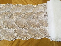 """Stretch Bright White Embroidered French Mesh Lace Trim Sewing Lingerie 8"""" Wide $8.45"""