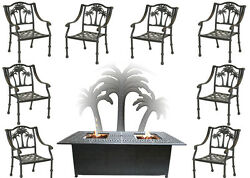 Propane Fire Pit Table Set Patio Furniture 8 Palm Tree Dining Chairs Sunbrella
