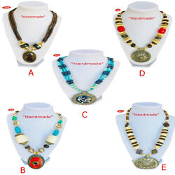Himalayan Handmade Bone Beads Stone Coral & Mix Multi Choice Pendant Necklaces