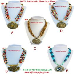 Himalayan Handmade Bone Beads & Stone Mix MultiChoice Pendant Necklaces With Box