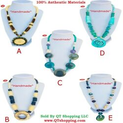 Himalayan Handmade High Quality Bone Stone Beads Pendant Necklace Multi Choice