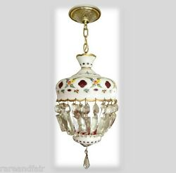 Bohemia Czech Moser hanging light chandelier white cut to ruby $853.12