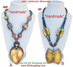 Himalayan Handmade Quality Bone Beads & Pendant Necklace Comes With Gift Box