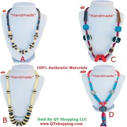 Himalayan Handmade High Quality Bone Beads Coral Pendant Necklace Multi Choice