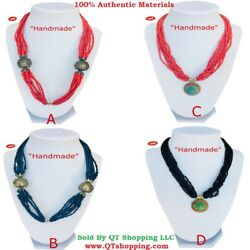 Himalayan Handmade High Quality Beads Gemstone Pendant Necklace Multi Choice