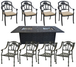 Cast Aluminum Propane Fire Pit Table Set 8 Palm Tree Patio Dining Chairs Bronze
