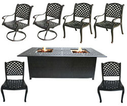 7 piece patio dining set with fire pit propane cast aluminum table and chairs.