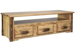 Rustic Log TV Stand Amish Made Entertainment Stands Lodge Cabin Furniture