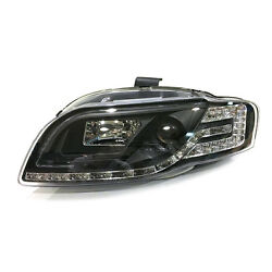For Audi A4 05-08 LED Light Pipe DRL Headlights+C-Tube Style LED Cornering Lamps