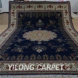YILONG 10'x16' Extra Large Handmade Wool Silk Carpet Blue Interior Rug 1509