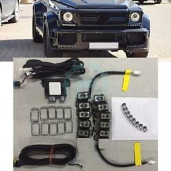 For Benz W463 G-Class Headlights Black Cover with Daytime Running Light LED DRL