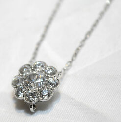 VINTAGE 1.5 CARAT DIAMOND CLUSTER PENDANT ON CHAIN IN SOLID WHITE - $15K VALUE