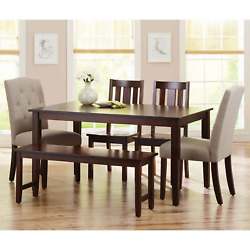 Dining Room Table Set Kitchen Tables And Chairs Modern Rectangle Wood Sets 6Pc $654.26