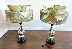 Vintage Pair of 1950#x27;s Fiberglass Lamps Tiered Gold Black Ivory MCM $580.00