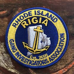Vintage RHODE ISLAND RIGIA Police Gang Investigators Embroidered Cloth Patch $9.99
