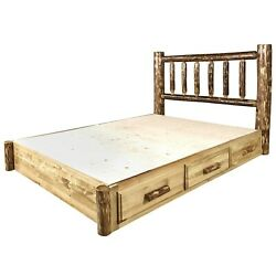 Log Platform Storage Bed with Drawers QUEEN Size Amish Made Beds Lodge Cabin