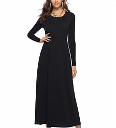 Women Long Sleeve Round Neck Casual Plain Floral Maxi Dress Casual with Pockets $17.99
