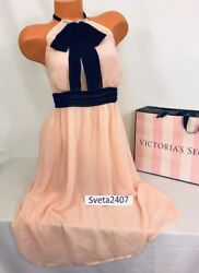 Victoria's Secret Pale Pink Bow High Neck Lounge Cocktail Chiffon NWT Dress Sz 2 $29.99
