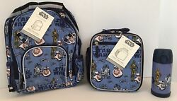 Pottery Barn Kids Star Wars Droids Small Backpack Lunch Bag Water Bottle NEW NWT $104.96