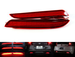 2PCS Red Lens LED Rear Bumper Reflector Fog Tail Brake Stop Light For Honda $25.97