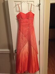 Two tone Orange Prom Dress Evening Gown Size 3 4