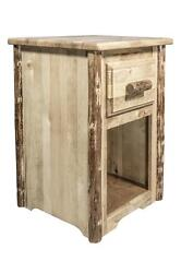 Log Night Stand with Drawer Rustic Pine End Tables Amish Made Bedroom Furniture