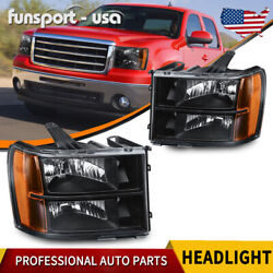 Black For 2007 2013 GMC Sierra 1500 2500 3500 Headlights Headlamps LeftRight US