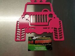 JEEP METAL CUTOUT MAN CAVE  SHE SHED DECO ART POWDER COATED FLO PINK
