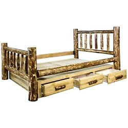 King Storage Bed with Drawers Amish Made Log Beds Montana Lodge Cabin Furniture